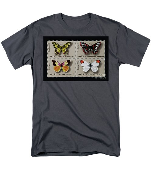 Butterflies Postage Stamp Print Men's T-Shirt  (Regular Fit) by Andy Prendy