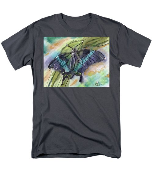 Men's T-Shirt  (Regular Fit) featuring the painting Butterfly Bamboo Black Swallowtail by D Renee Wilson