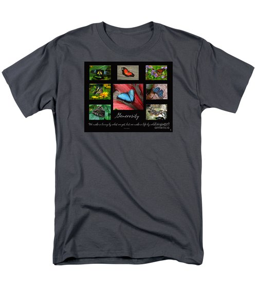 Men's T-Shirt  (Regular Fit) featuring the photograph Butterfly Generosity Collage by Diane E Berry