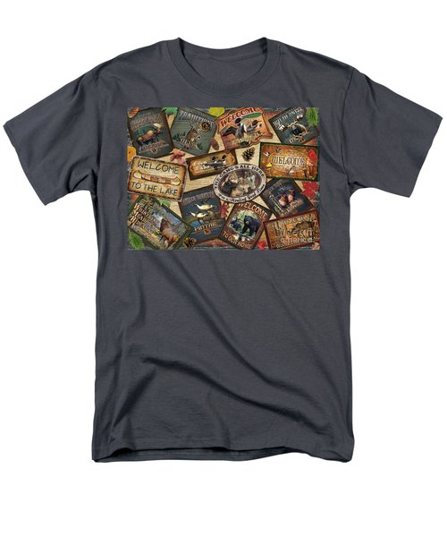 Men's T-Shirt  (Regular Fit) featuring the painting Cabin Sign Collage by Cynthie Fisher JQ Licensing