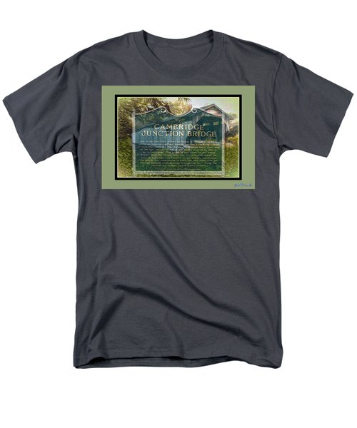 Men's T-Shirt  (Regular Fit) featuring the digital art Cambridge Jct. Bridge History by John Selmer Sr