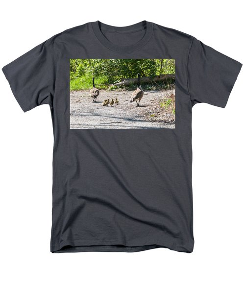 Canada Geese Family Walk Men's T-Shirt  (Regular Fit) by Edward Peterson
