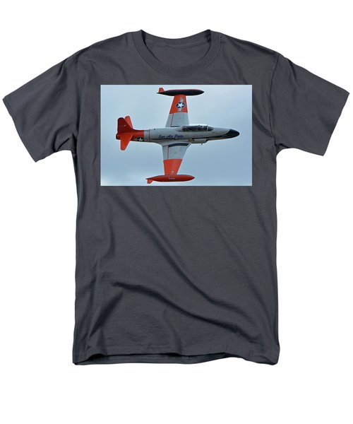 Men's T-Shirt  (Regular Fit) featuring the photograph Canadair Ct-133 Silver Star Nx377jp Pacemaker Chino California April 30 2016 by Brian Lockett