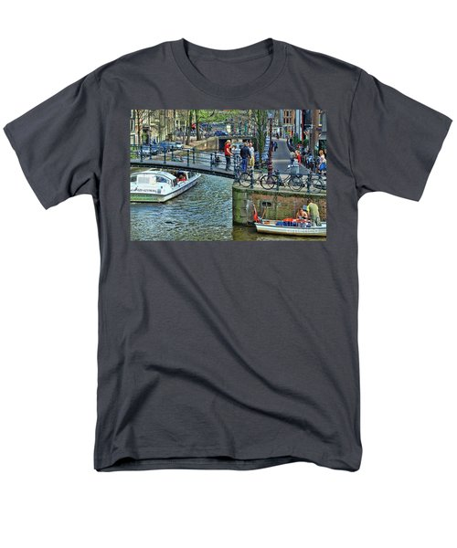 Men's T-Shirt  (Regular Fit) featuring the photograph Amsterdam Canal Scene 1 by Allen Beatty