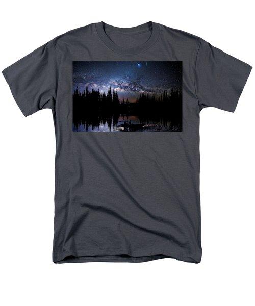 Canoeing - Milky Way - Night Scene Men's T-Shirt  (Regular Fit) by Andrea Kollo