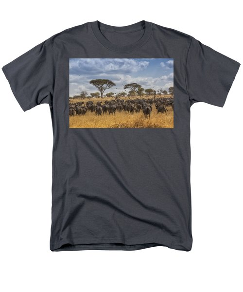 Cape Buffalo Herd Men's T-Shirt  (Regular Fit) by Kathy Adams Clark