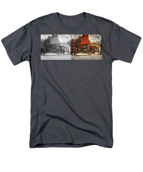 Men's T-Shirt  (Regular Fit) featuring the photograph Car - Accident - Looking Out For Number One 1921 - Side By Side by Mike Savad