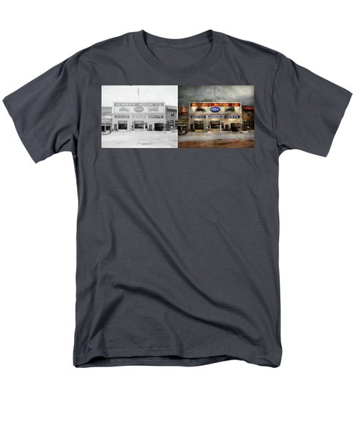 Men's T-Shirt  (Regular Fit) featuring the photograph Car - Garage - Hendricks Motor Co 1928 - Side By Side by Mike Savad