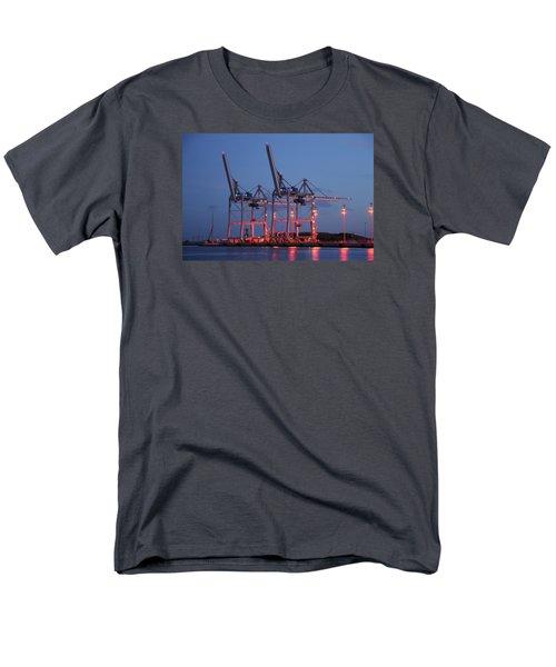 Cargo Cranes At Night Men's T-Shirt  (Regular Fit) by Bradford Martin