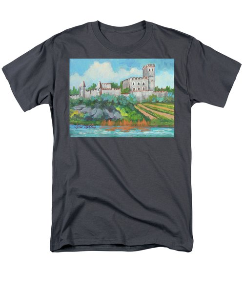 Men's T-Shirt  (Regular Fit) featuring the painting Castle On The Upper Rhine River by Diane McClary
