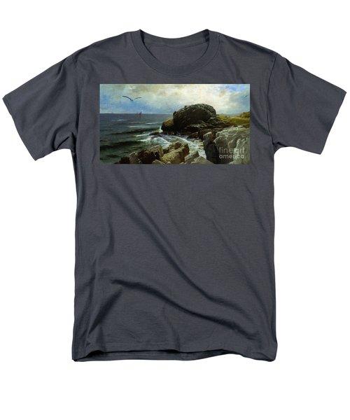 Men's T-Shirt  (Regular Fit) featuring the digital art Castle Rock - Marblehead by Lianne Schneider