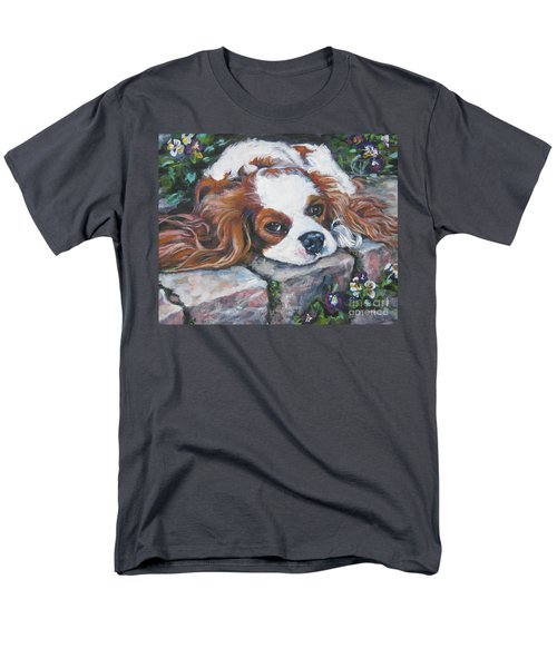 Cavalier King Charles Spaniel In The Pansies  Men's T-Shirt  (Regular Fit) by Lee Ann Shepard