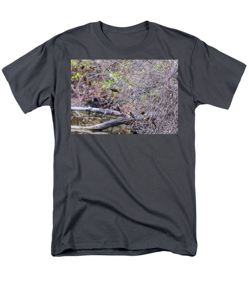Men's T-Shirt  (Regular Fit) featuring the photograph Cedar Waxwings Feeding 2 by Edward Peterson