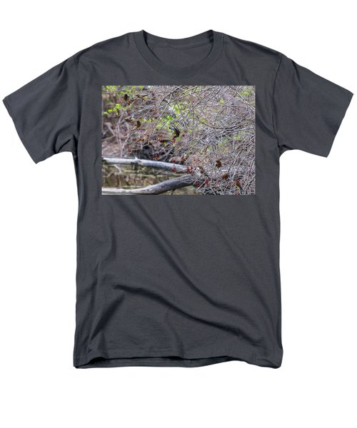 Men's T-Shirt  (Regular Fit) featuring the photograph Cedar Waxwings Feeding by Edward Peterson