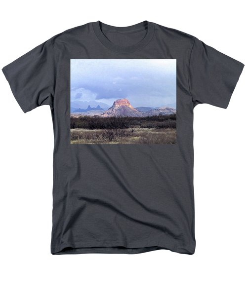 Men's T-Shirt  (Regular Fit) featuring the painting Cerro Castellan And Mule Ears  by Dennis Ciscel