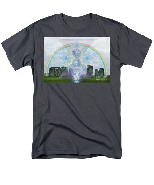 Men's T-Shirt  (Regular Fit) featuring the digital art Chalice Over Stonehenge In Flower Of Life by Christopher Pringer