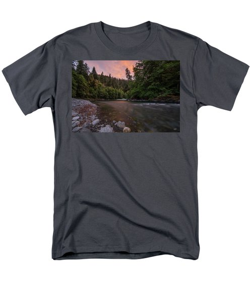 Men's T-Shirt  (Regular Fit) featuring the photograph Chetco River Sunset by Leland D Howard