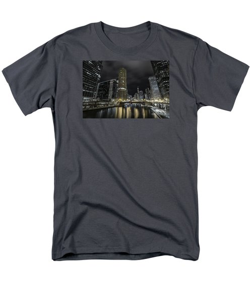 Men's T-Shirt  (Regular Fit) featuring the photograph Chicago Riverfront Skyline At Night by Keith Kapple