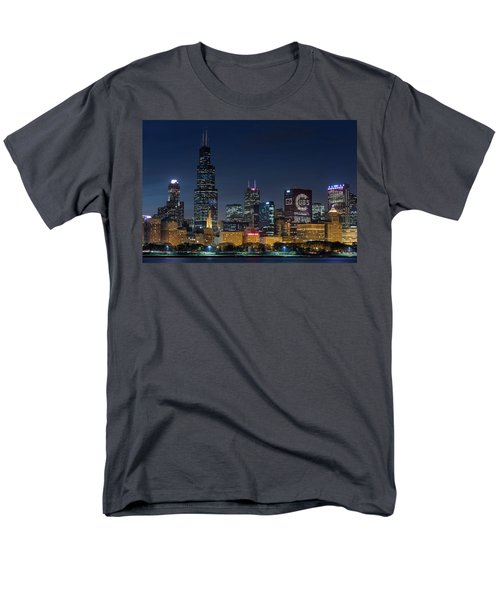 Men's T-Shirt  (Regular Fit) featuring the photograph Chicago Skyline Go Gubs  by Emmanuel Panagiotakis
