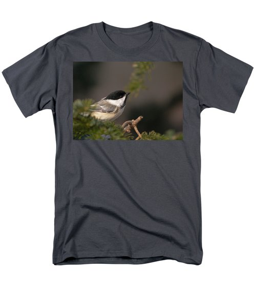 Men's T-Shirt  (Regular Fit) featuring the photograph Chickadee In The Shadows by Susan Capuano