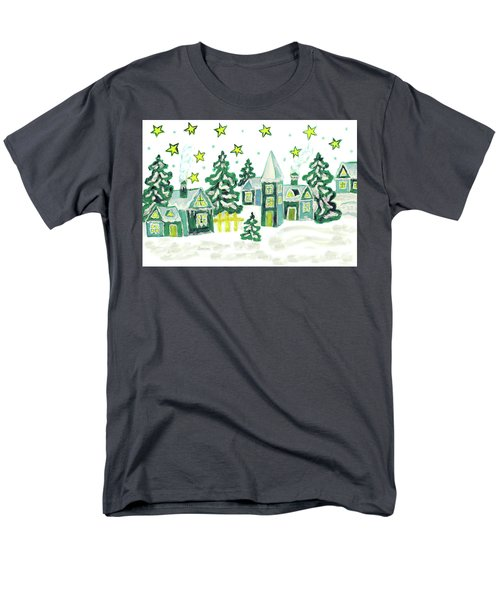 Christmas Picture In Green Men's T-Shirt  (Regular Fit) by Irina Afonskaya