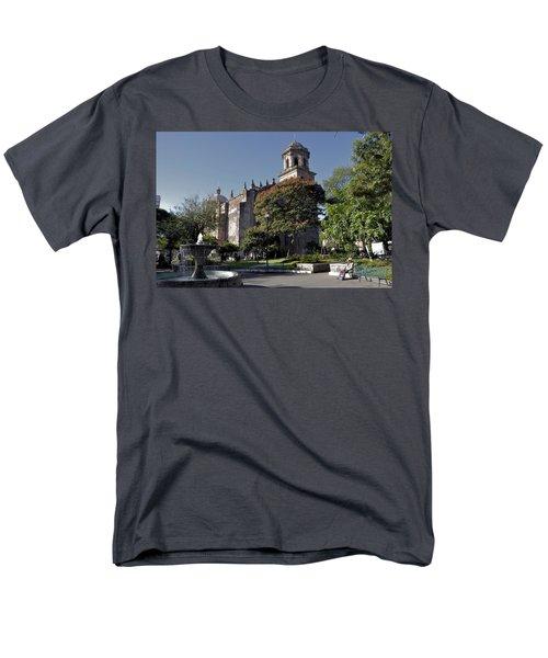 Men's T-Shirt  (Regular Fit) featuring the photograph Church And Fountain Guadalajara by Jim Walls PhotoArtist