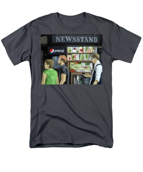 Men's T-Shirt  (Regular Fit) featuring the painting City Newsstand - People On The Street Painting by Linda Apple