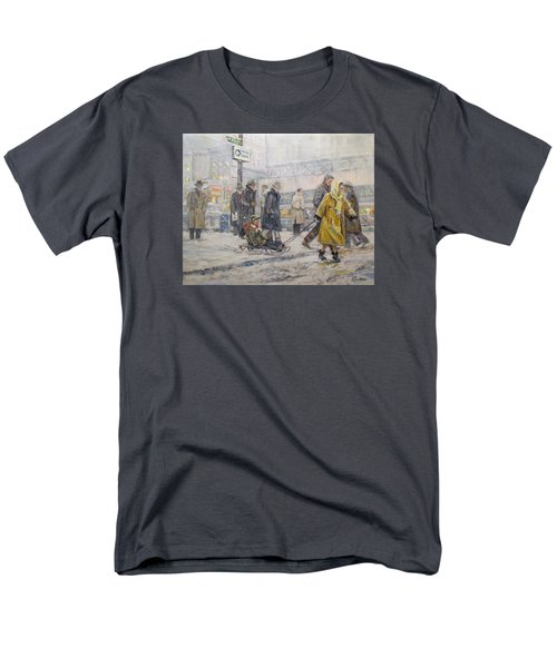 Men's T-Shirt  (Regular Fit) featuring the painting City Snow Ride by Donna Tucker