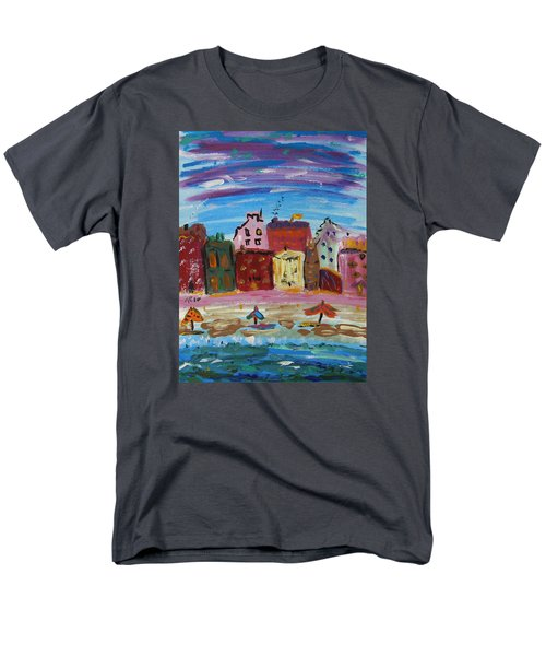 City With A Pink Boardwalk Men's T-Shirt  (Regular Fit) by Mary Carol Williams