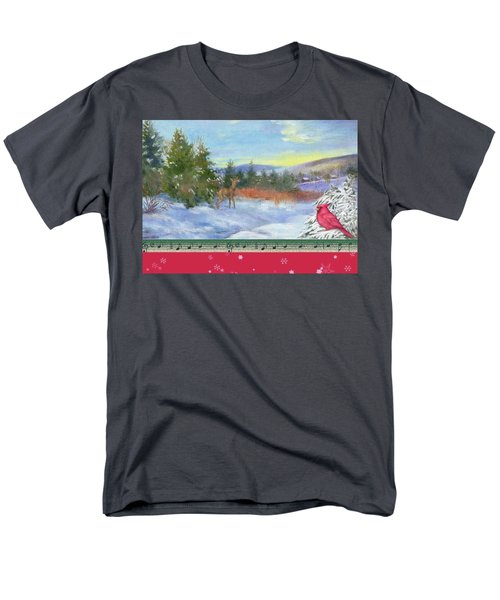 Classic Winterscape With Cardinal And Reindeer Men's T-Shirt  (Regular Fit) by Judith Cheng