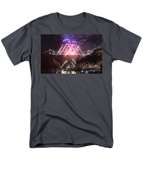 Clifton Suspension Bridge Fireworks Men's T-Shirt  (Regular Fit) by Colin Rayner