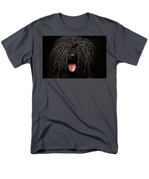 Close Up Portrait Of Puli Dog Isolated On Black Men's T-Shirt  (Regular Fit) by Sergey Taran