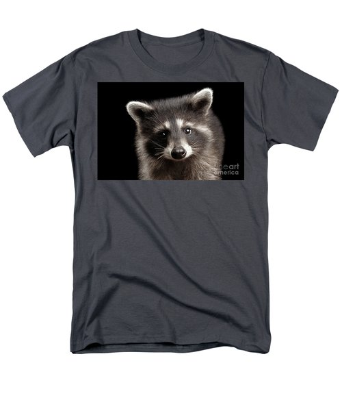 Closeup Portrait Cute Baby Raccoon Isolated On Black Background Men's T-Shirt  (Regular Fit) by Sergey Taran