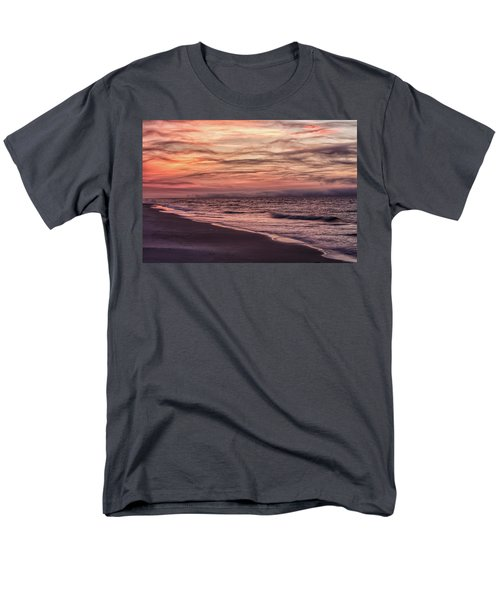 Men's T-Shirt  (Regular Fit) featuring the photograph Cloudy Sunrise At The Beach by John McGraw