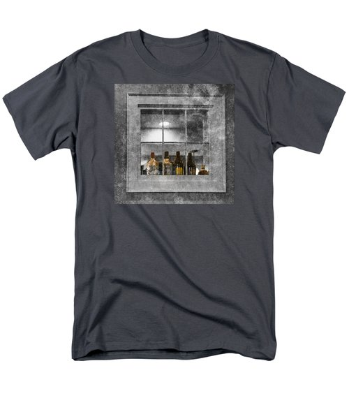 Men's T-Shirt  (Regular Fit) featuring the photograph Colored Bottles In Window by Tom Singleton