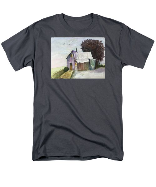 Men's T-Shirt  (Regular Fit) featuring the painting Colorful Weathered Barn by Lucia Grilletto