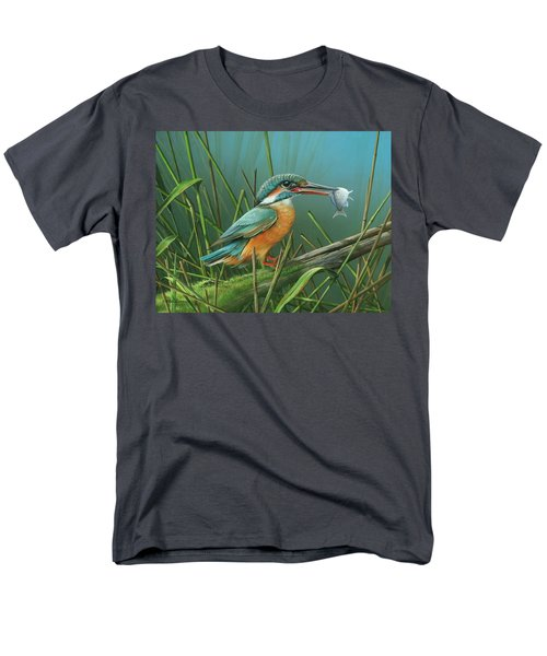 Men's T-Shirt  (Regular Fit) featuring the painting Common Kingfisher by Mike Brown