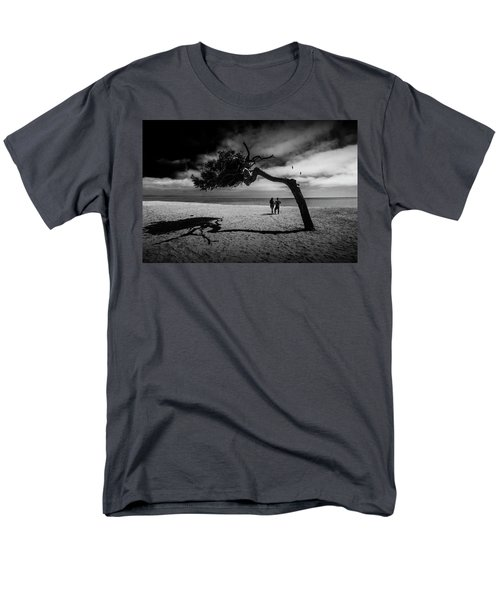 Men's T-Shirt  (Regular Fit) featuring the photograph Couple On Cabrillo Beach By Los Angeles California by Randall Nyhof