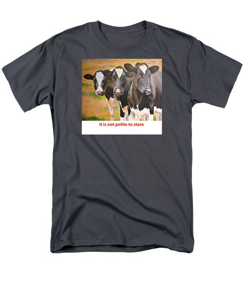 Men's T-Shirt  (Regular Fit) featuring the painting Cow Holstein Trio by K L Kingston
