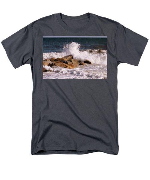 Men's T-Shirt  (Regular Fit) featuring the photograph Crashing Surf On Plum Island by Eunice Miller