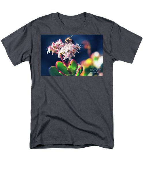 Men's T-Shirt  (Regular Fit) featuring the photograph Crassula Ovata Flowers And Honey Bee by Sharon Mau