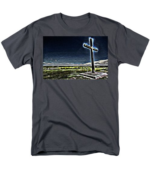 Men's T-Shirt  (Regular Fit) featuring the photograph Cross On The Hill by Douglas Barnard