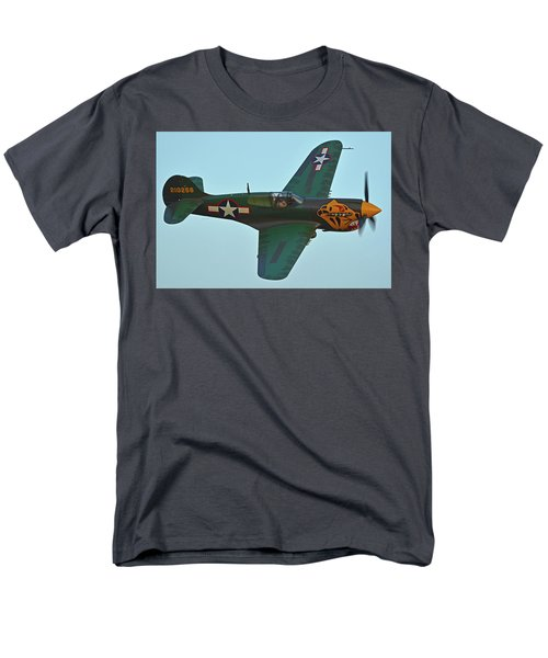 Men's T-Shirt  (Regular Fit) featuring the photograph Curtiss P-40k Warhawk N401wh Chino California April 29 2016 by Brian Lockett