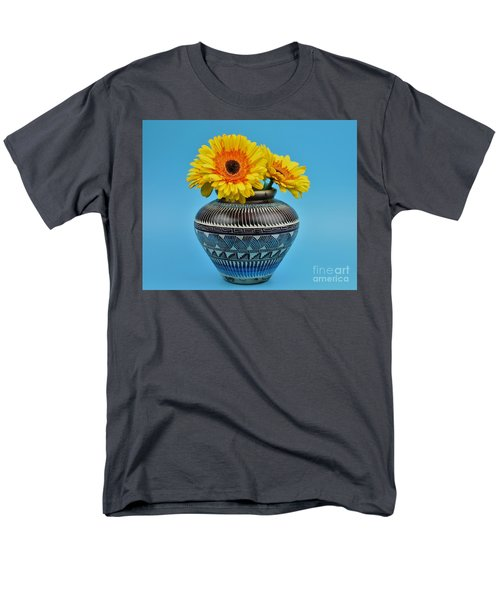 Daisies Displayed In Navajo Native American Vase Men's T-Shirt  (Regular Fit) by Ray Shrewsberry