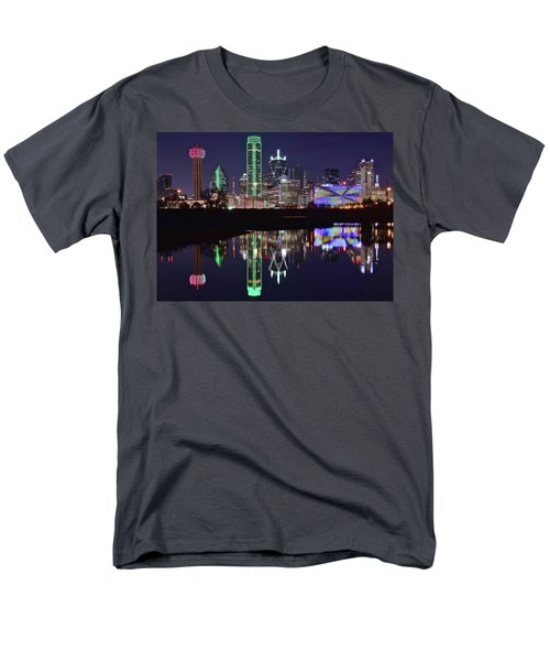 Dallas Reflecting At Night Men's T-Shirt  (Regular Fit) by Frozen in Time Fine Art Photography