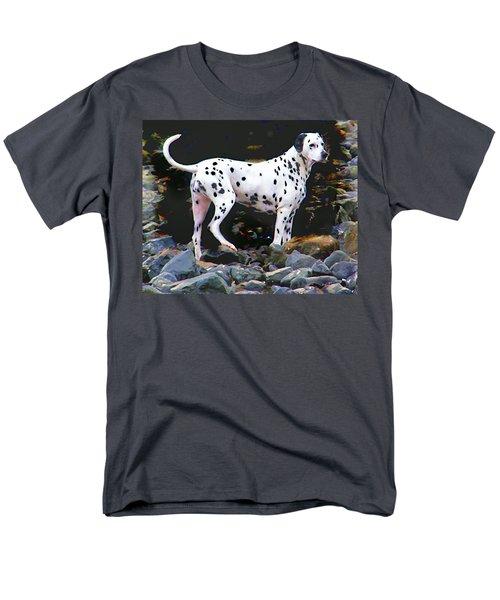 Dalmatian On The Rocks Men's T-Shirt  (Regular Fit) by Wendy McKennon