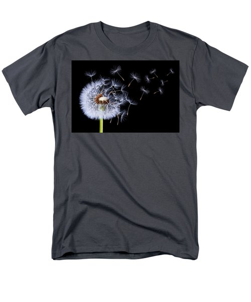 Men's T-Shirt  (Regular Fit) featuring the photograph Dandelion Blowing On Black Background by Bess Hamiti