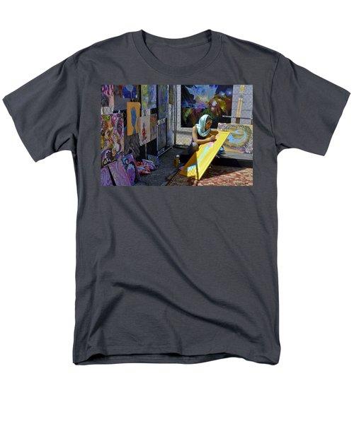 Deep Elum - Artist At Work  Men's T-Shirt  (Regular Fit) by Allen Sheffield