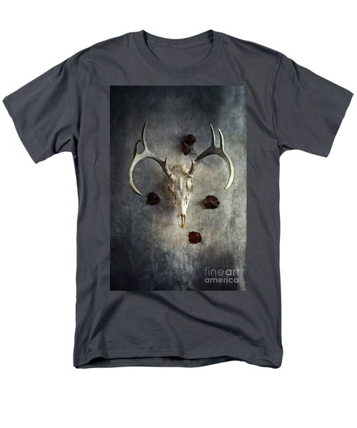 Men's T-Shirt  (Regular Fit) featuring the photograph Deer Buck Skull With Fallen Leaves by Stephanie Frey