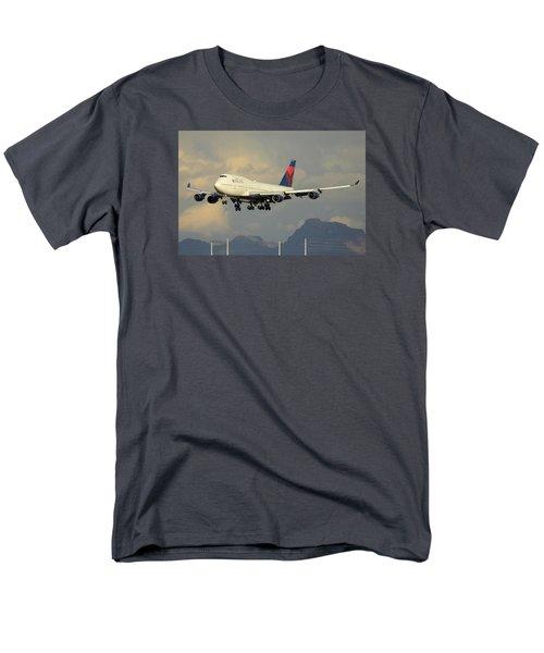 Delta Boeing 747-451 N668us Phoenix Sky Harbor January 8 2015 Men's T-Shirt  (Regular Fit) by Brian Lockett